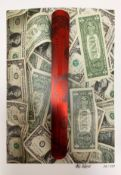 Karl Lagasse, print blended with US dollar banknote applied, 29/333. Signed Karl Lagasse. Cm 42,5x31