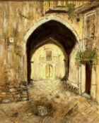 Oil paint on canvas depicting a country road with a pointed arch. signed and dated on the lower left