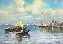 """Oil painting on canvas depicting """"the Venetian navy."""" Signed on the lower right A.C. Bracchi, painte"""