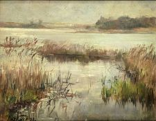 Oil painting on wood depicting lake landscape. Illegible signature lower left, dated '33. Signed on
