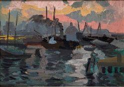 Oil paint on canvas depicting a Venetian landscape at sunset. 25x35 cm, framed 41x51 cm