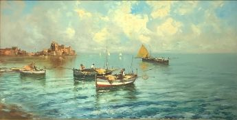 Oil painting on canvas depicting Castel dell 'Ovo. Signed on the lower left A. C. Bracchi, painter a