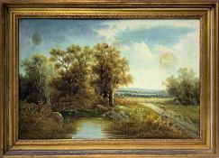 Oil painting on canvas depicting river landscape with characters. Cm 52x79,5. In 64x91 frame.