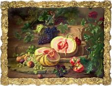Oil painting on canvas depicting still life of fruit. 85x119 cm. Edward Van Ryswyck (Antwerp, 1871-1