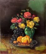 Oil painting on canvas depicting still life of flowers and fruit, late nineteenth century. Signed on