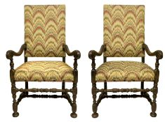 Pair of walnut armchairs, Piemonte, Italy, seventeenth century. Of sinuous line terminating in a cur