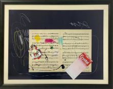 Giuseppe Chiari, Mixed technique on black paper depicting musical score, Giuseppe Chiari (Florence 1