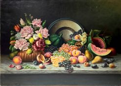 Oil painting on canvas depicting still life of flowers and fruit, late nineteenth century.