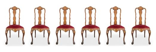 Group of 6 chairs and 2 headtables, nineteenth century, Holland. With floral inlays in light woods o
