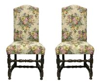 Pair of high chairs, Lombardy, Italy, eighteenth century. High backrest moved in the summit. Turned
