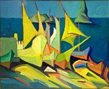 "Oil painting on canvas depicting ""Marina di Trezza"", Carmelo Molino (Catania 1908-1984). On the back"