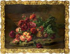 Oil painting on canvas depicting still life of flowers. 85x119 cm. Edward Van Ryswyck (Antwerp, 1871