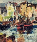 Oil paint on wood by Jose Luis Florit Rodero (1909-2000), Fishing boats in the harbor. Signed in the