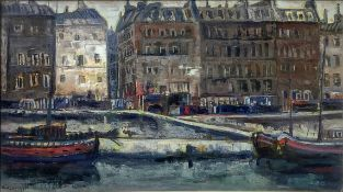 Antonio Alberti Oil painting on canvas depicting boats on the Seine in Paris, Signed on the lower le