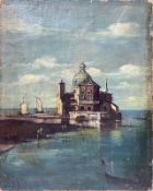 Oil painting on canvas depicting the lagoon whim with church on island, Signed on the lower left R.