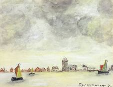 Oil paint on cardboard canvas depicting Venetian landscape, Signed on the lower right 85 Carpignano