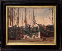 Silvio di Volo, Oil paint on cardboard canvas depicting the harbor with sailboats, Silvio di Volo (L
