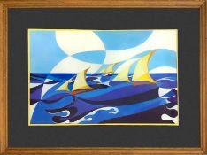 Futurist watercolor depicting sailboats, 1970s/80s. Watercolor on paper. Cm 23x38