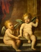 """Oil painting on canvas depicting Archangel Raphael with chalice and angel Uriel with sword """"Light of"""