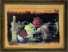 Mixed media on paper depicting still life of fruit and bottles. Cm 50x70. In frame 73x93 cm. Signed
