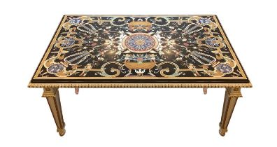 Lacquered and golden wood table