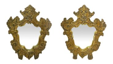 Pair of mirrors in golden wood frame