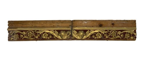 Wooden fragment with floral decorations.