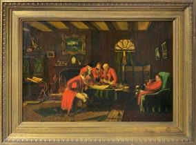 Men in red dress in an interior