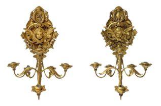Pair of six-light candlesticks