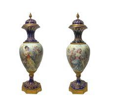 Porcelain porcelain pair of Sevres