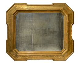 Big and important golden wood mirror with curtain decoration