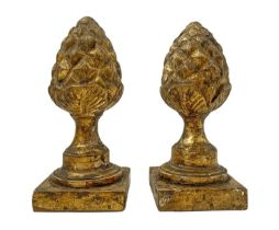 Small pine cones in golden wood, 19th century.