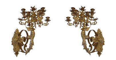Pair of Golden Bronze Appliques 11 Lights