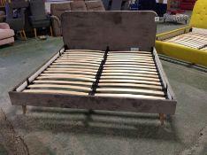 BEIGE 6FT UPHOLSTERED BED FRAME WM23 K206