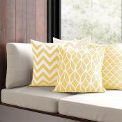 Mercury Row, Martina Cotton Cushion Cover Colour: Yellow (SET OF 4) (PENO1034.39633356 - HLS1 -