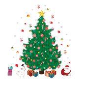The Seasonal Aisle, Christmas Tree and Santa Christmas Wall Sticker (HL7 - 2/60 - XDNL1001)8A