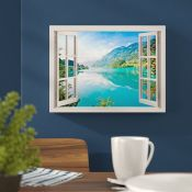Hokku Designs,Mountain, Lake and Forest Window View Effect Photographic Print on Wrapped Canvas