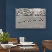 Home Loft Concept,Lettering in Sand Life is Good in Monochrome Wall Art on Canvas RRP -£39.99 (