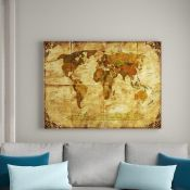 East Urban Home,Retro World Map II Framed Photographic Print on Canvas RRP -£38.99 (14692/22 -