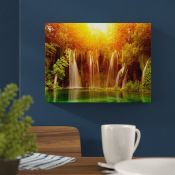 Hokku Designs,Sunrise Over Waterfall Photographic Print on Wrapped Canvas RRP -£20.82 (15583/29 -