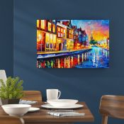 Hokku Designs,Sunday Night in Amsterdam by Leonid Afremov Painting Print on Wrapped Canvas RRP -£