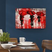 Hokku Designs,3 Umbrellas by Leonid Afremov Painting Print on Wrapped Canvas in RedRRP -£25.99 (