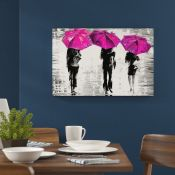 Hokku Designs,3 Umbrellas by Leonid Afremov Painting Print on Wrapped Canvas in PinkRRP -£28.99 (