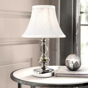 MiniSun, Gomes Touch 31cm Table Lamp (SET OF 2) (CHROME WITH PLEATED SHADE) - RRP £38.99 (MSUN4327 -