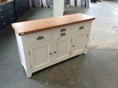 Hampshire Grey Painted Oak Large 3 Door Sideboard (I10 -WXF P05)