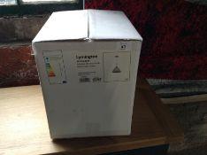 DARK LYMINGTON WHITE GLASS PENDANT LIGHT (NEW/BOXE