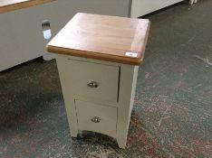 Gloucester White Painted Oak Narrow 2 Drawer Bedside Table (DAMAGED) (I65 -GA-SBSC-W)