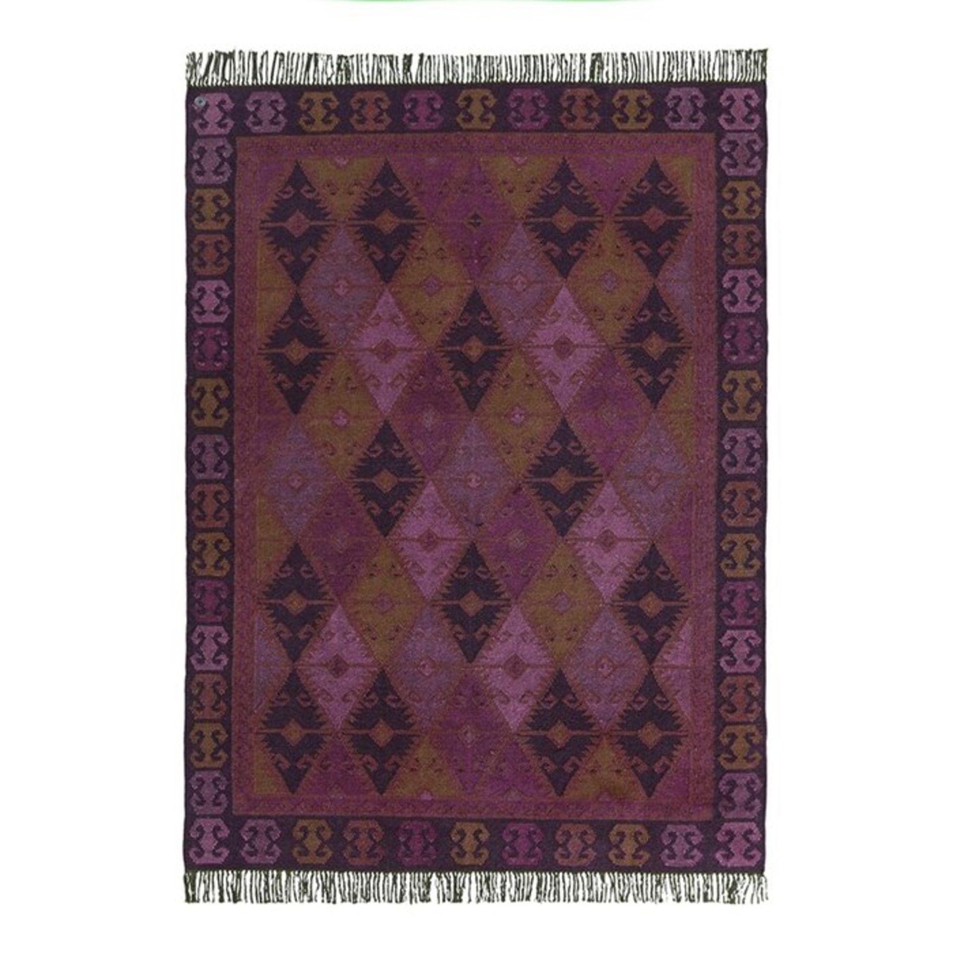 Tom Tailor,Vintage Handwoven Wool Purple Rug RRP -£262.99 (11989/19 -TMTR1222)