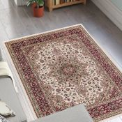 Astoria Grand,Craster Arms Cream/Red Rug 83cm x 300cm RRP -£51.99 (10265/1 -HAZM6921)