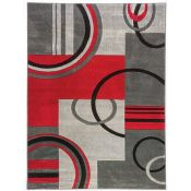 Well Woven,Ruby Modern Galaxy Waves Grey/Red Area Rug RRP -£92.99 (9664/4 -WEWO1026)